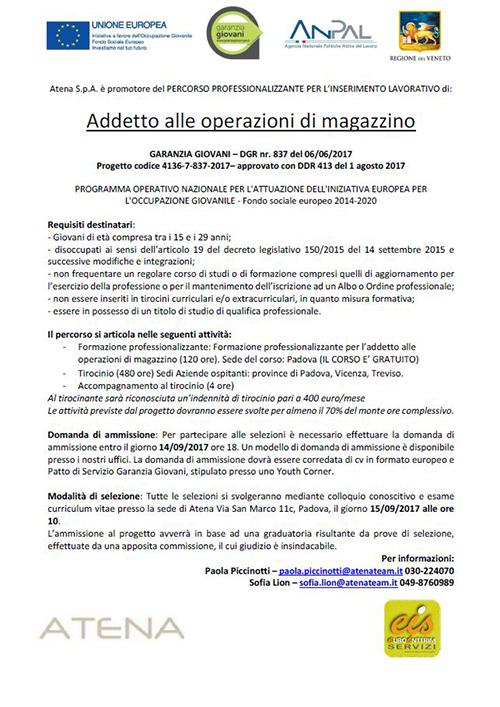Garanzia Giovani Padova - Addetto alle operazioni di Magazzino